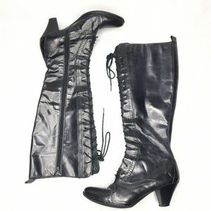 Born Lace Up Knee High Boots Leather Kitten Heel